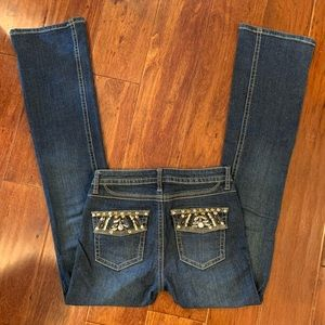 Cache Jeans - Cache Dark Denim Jeans Stretchy-Embellished Bling